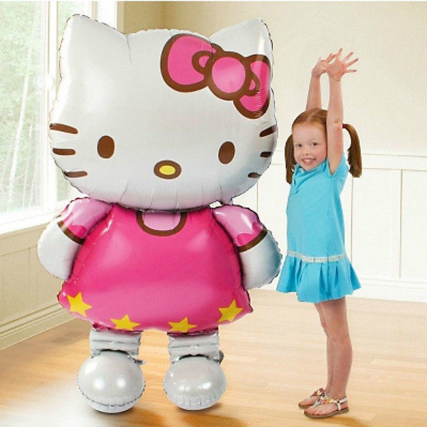 Oversized Hello Kitty foil balloons cartoon happy birthday decoration baby toy and wedding party inflatable air balons(China (Mainland))