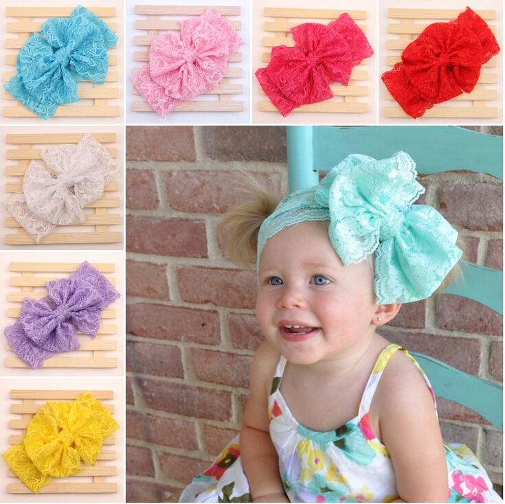 2015 New Lace Bow Headwrap Off Stretch Lace Bow Headband baby headband Vintage Head Wrap Photo Prop Hair Accessories 7 color(China (Mainland))