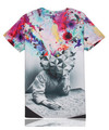 Free shipping 2016 summer new 3D creative design thinking scholars colorful printed cotton men s casual