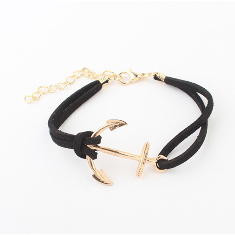 5 Colors Golden Bracelet Fashion Women's Hot Korean Velvet Woven Anchor Bracelet ES88(China (Mainland))