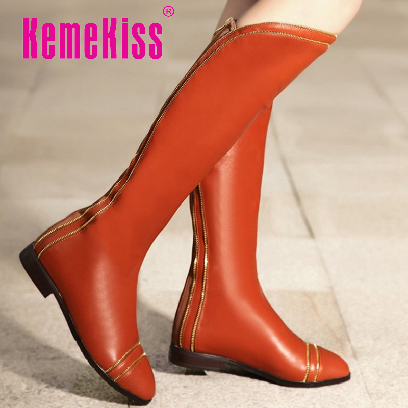 women real genuine leather flat over knee boots fashion long boot winter botas feminina brand footwear shoes R7682 size 34-42<br><br>Aliexpress