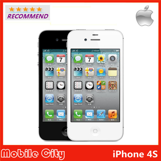 Original iPhone 4S Refurbished Unlocked Apple cell phone 8&16&32&64GB ROM iOS GPS WiFi WCDMA 8MP GPRS With Gifts Free Shipping(China (Mainland))