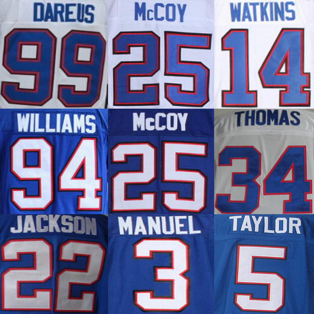 Fred Jackson Sammy Watkins Jersey, EJ Manuel LeSean McCoy Mario Williams Thurman Thomas JIM KELLY Jersey(China (Mainland))