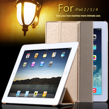 Super Stand Support Four Folders Case For Apple iPad 2 3 4 Slim Light Slik PU Leather Flip With Transparent Clear Matte Cover(China (Mainland))
