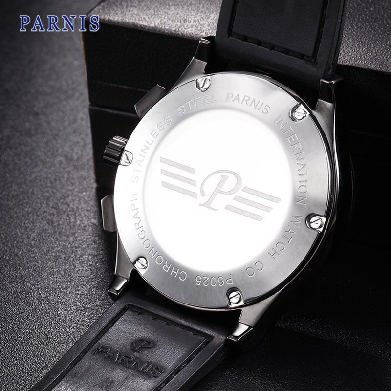 Новый 43 мм Parnis Часы Pvd Дело Черный Циферблат с Серебряной Марки Механическая Автоматическая Мужчины Наручные Часы