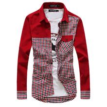 2013 men's clothing plaid shirt long-sleeve fashion plaid patchwork long-sleeve sanded shirt corduroy shirt male(China (Mainland))