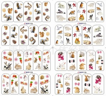 Diy BOP116--119  nail art stickers full finger 3D water transfer watermark printing applique decal   hot-selling hot film