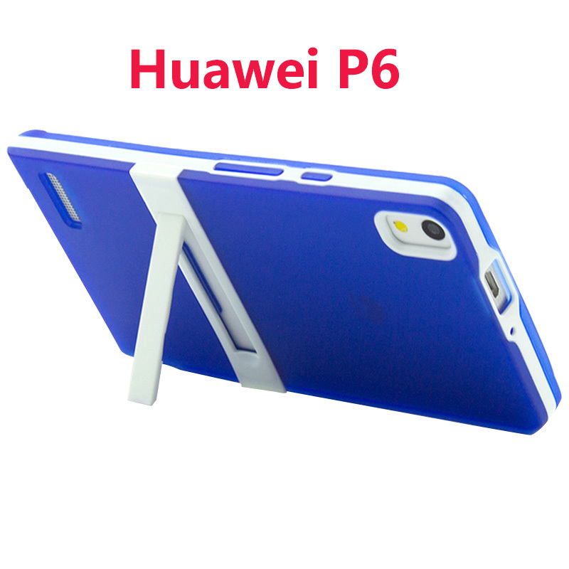 P6 cover case soft colorful silicon tpu simple stand design protective back cover case For Huawei p6(China (Mainland))