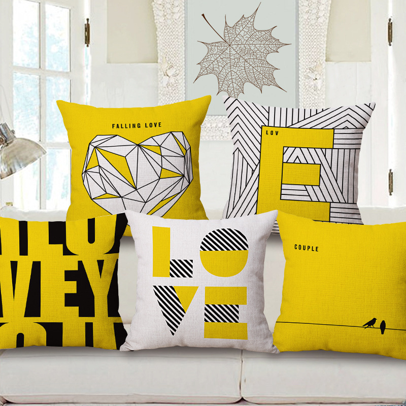 Yellow Love Throw Pillow : Aliexpress.com : Buy Fashion High Quality Cotton Linen Yellow Simple Geometry Letter LOVE ...