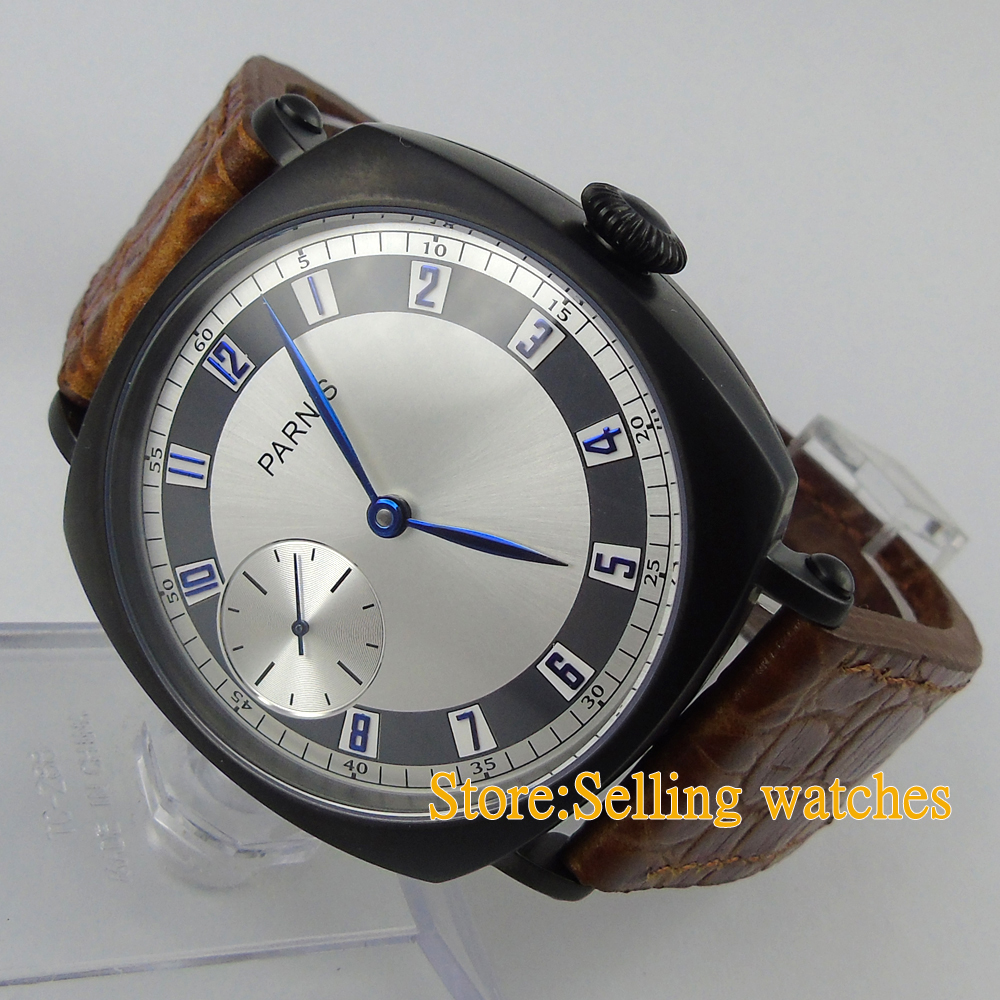 44MM parnis white dial PVD case vintage style 6497 hand winding mens watch<br><br>Aliexpress