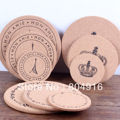 FIRST LINE (S) Soft Cork Wood Cup/Glass/Teacup/dish/kittle/pot Wad Mat Coaster Pad Cupholder 3 designs ST0762-1