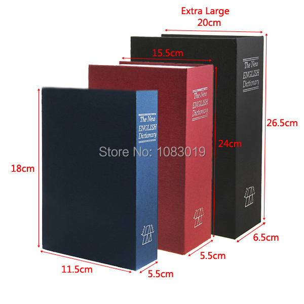 240*155*55 mm Large Size English Dictionary Book Cash Money Safe Box with Keys Case Blue Personal Storage Box(China (Mainland))