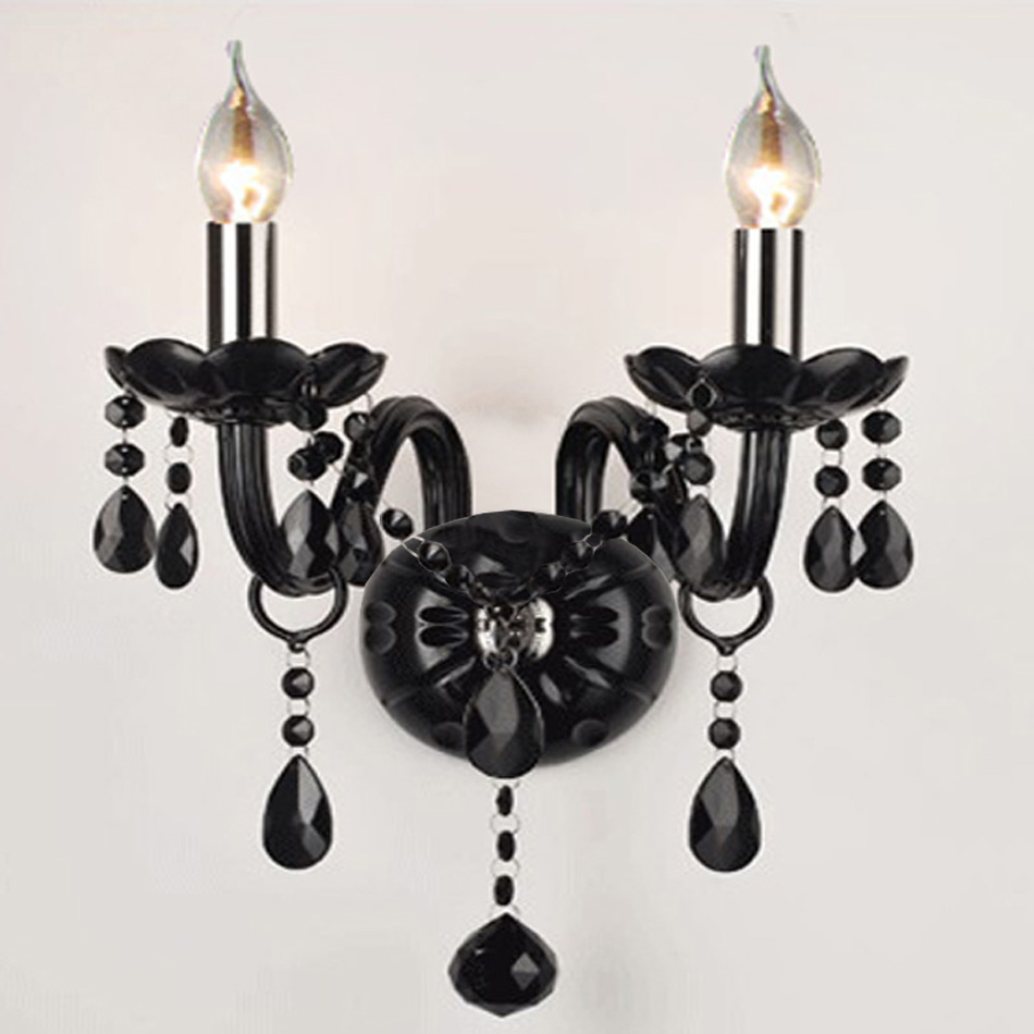 Decorative Crystal Wall Sconces : Modern Brief black candle crystal wall lamp bedroom bedside lamp double heads crystal wall ...