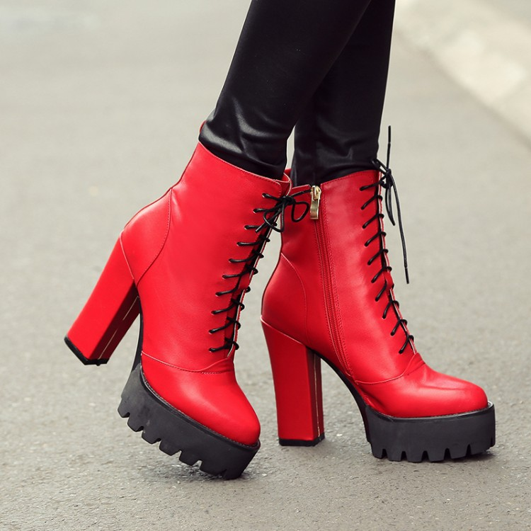 High Quality Newest Fashion Autumn Winter Women Ankle Boots Heels Lace Up Short Booties Platform High heels motorcycle boots red<br><br>Aliexpress