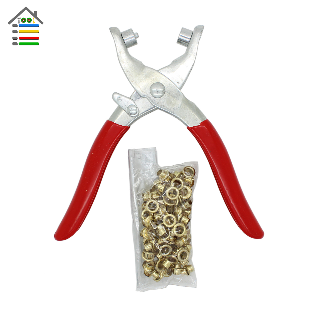 DIY Grommet Eyelet Pliers With 80pcs Eyelets Leather Hole Hand Belt Watch Band Holes Punches Tool(China (Mainland))