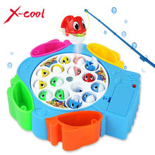 XC9881 kids fishing toys set children educational toys musical gifts electric rotating fishing game magnetic outdoor sports toys(China (Mainland))