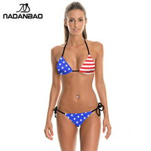 American Flag Printed Women Sexy Bikini Set Bra Swimwear Beach Wear Bikinis Plavky Y03012