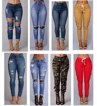 2016 sexy fashion new style women high waist jeans Full Length Ripped jeans Skinny  for women's jeans slim pants