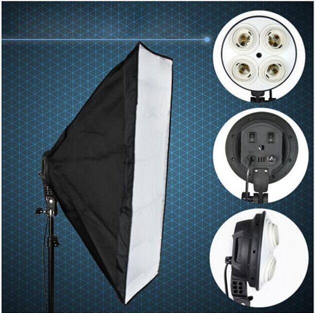 wholesaleNew Photo Video Studio 50 x 70cm E27 4in1 4x head Socket Lighting Lamp Softbox# F30120