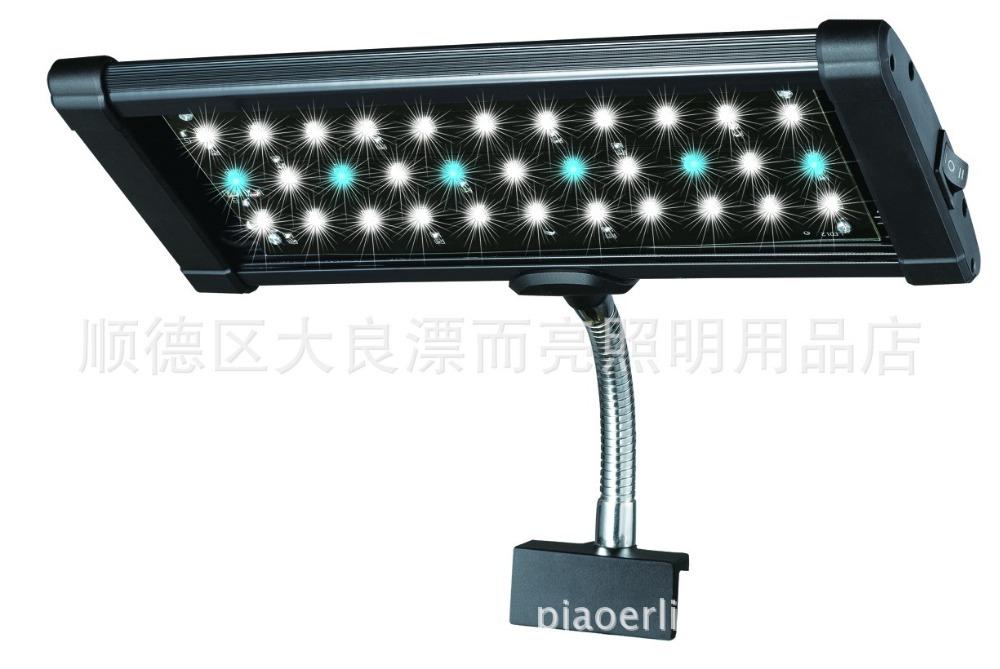 ODYSSEA EastFace 33 LED 16.5W LED Fish Tank Aquarium Clip On Light Lamp 100-240V White And Blue(China (Mainland))