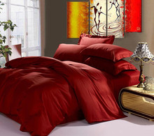 100%  Egyptian cotton 1200 TC duvet cover fitted sheets set King size 1.7 meters wine red color 6 pieces set customize(China (Mainland))
