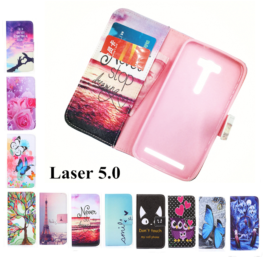 Fashion wallet Phone cover Rose Flower Tower pattern cover Flip Leather Case For ASUS Zenfone 2 Laser 5.0inch ZE500KL / ZE500KG(China (Mainland))