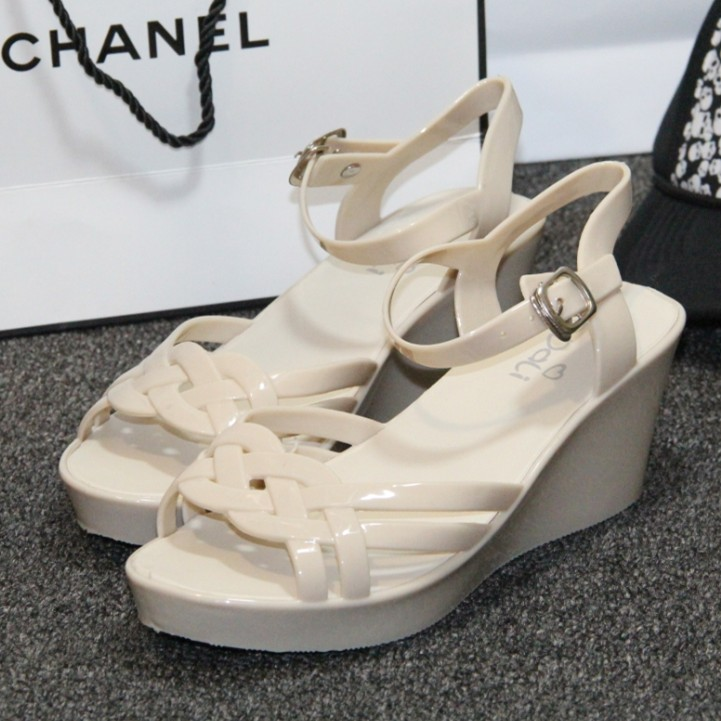 Women's shoes wedges sandals female platform 2015 fish mouth mother high heels hollow plastic - Designer house store