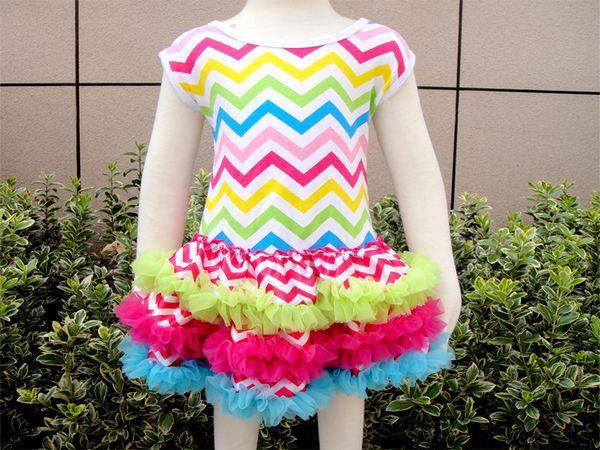 Rainbow bright chevron ruffles desinger boutique dress girls outfit top dress photo shoot birthday toddler baby petti school pic(China (Mainland))