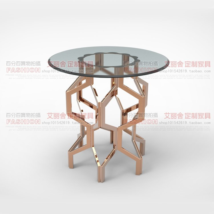 Modern fashion stainless steel rose gold small round coffee table a few custom angle side several small round tables coffee tabl(China (Mainland))