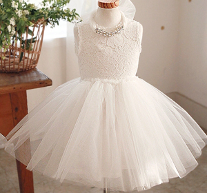 2015 summer wedding dresses for girls white tutu dress with Crystal Necklace kids European style bridesmaid children Ads300(China (Mainland))