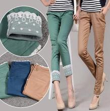 Casual Cotton Plus Size Pencil Full Length Stitching Lace Jeans Pants&Capris Trousers Women Clothing(China (Mainland))