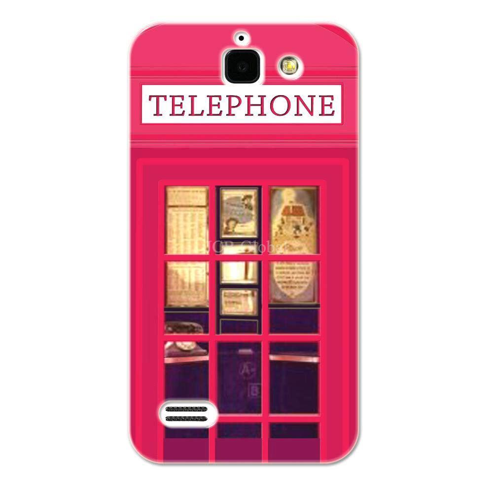 Rose Red London Telephone Booth Case For Huawei G730(China (Mainland))