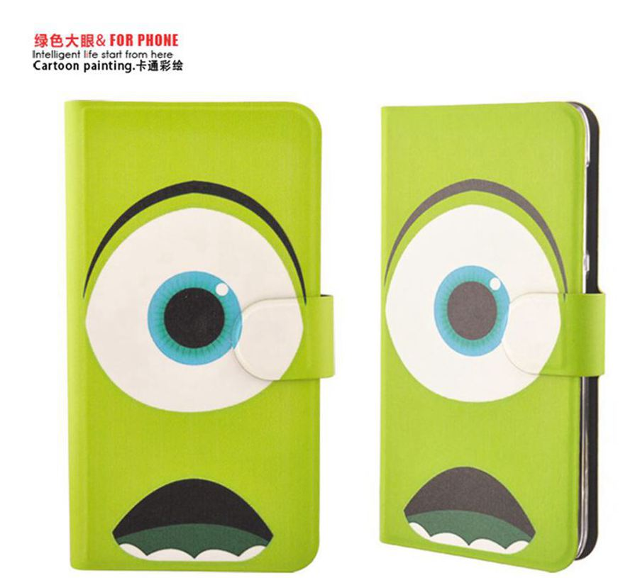 Green Big Eyes Pattern PU Leather Flip Case Cover For iPhone 3G 3GS(China (Mainland))