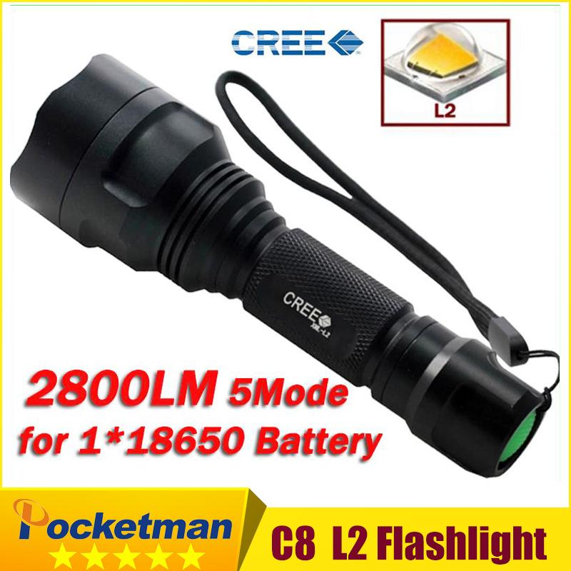 Flashlight C8 Cree XML2 XM-L2 LED 2800LM Torch Lantern Lanterna for Self Defense Camping Light Lamp for bicycle<br><br>Aliexpress