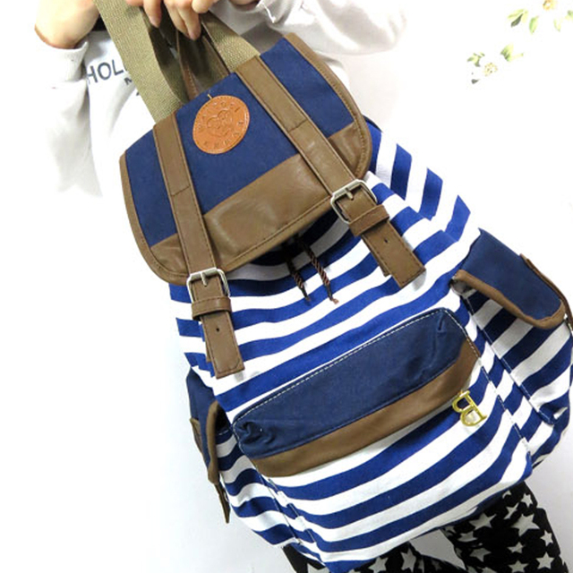 NEW Women Fashion Backpack Back to School Canvas Backpack Girls Blue Striped School Bag  Camping Bag Student Travel Backpack