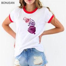 2019 Musim Panas Atasan Wanita Baju Korea Wanita Fashion Cat Air Cat Kuku Dicetak Tshirt Femme Camiseta Mujer Tumblr T Shirt(China)