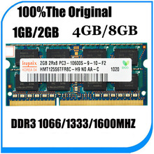 Free shipping Original  hynix 2GB/4GB/8GB 2RX8/1Rx8 PC3-12800s PC3-8500 DDR3 1600MHz 1333mhz 1066mhz Laptop Memory RAM stock(China (Mainland))