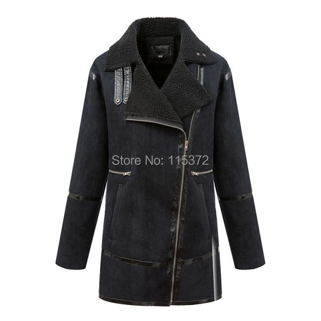 Winter Women sheepskin coat Suede Wool Coat Faux Lambs Wool Coat Women Leather Jacket Turn-down Collar Brand(China (Mainland))
