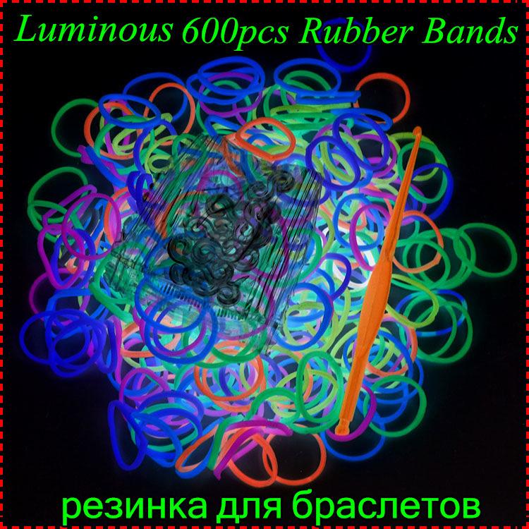 Cheap Sale 1 pack (600pcs Bands) Luminous Colorful Loom Bands Refill For Make Rubber Bands Bracelets Gum For Bracelets(China (Mainland))