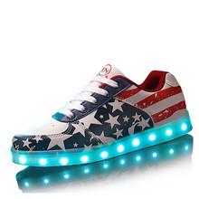 Best New 2016 Big Size 35-44 USB LED Light Shoes Men Women Glowing Fashion Led Shoes Flats Adults Lumineuse Shoes