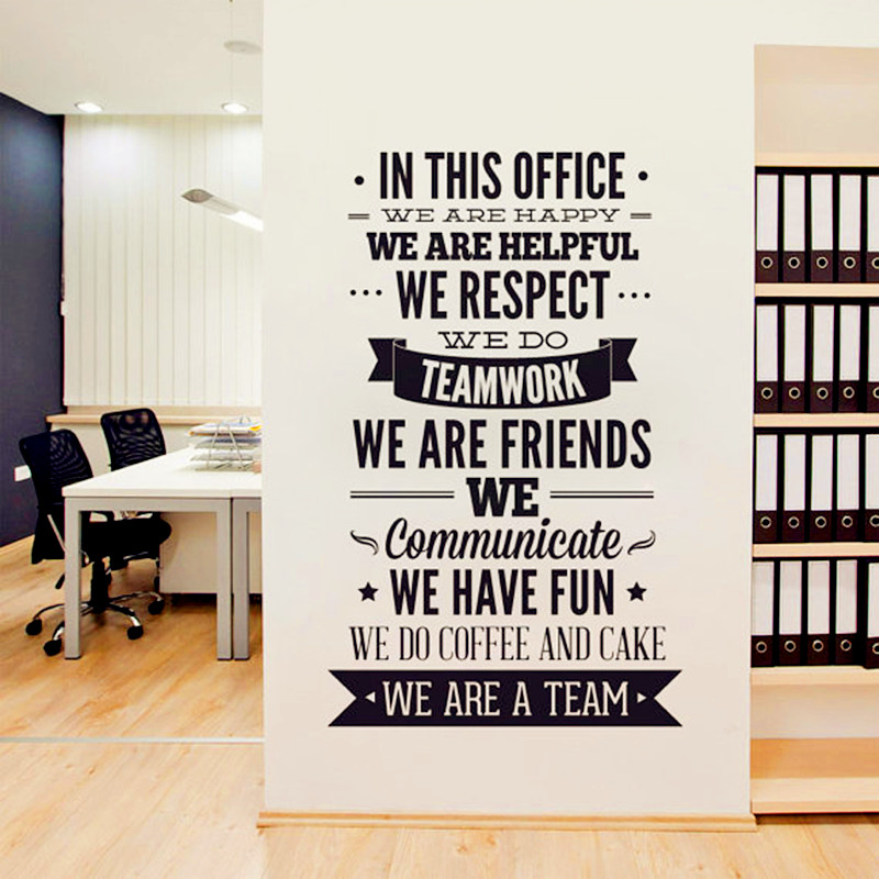 2016 new fashion quotes wall sticker office rules vinyl decals we are a team increase team. Black Bedroom Furniture Sets. Home Design Ideas