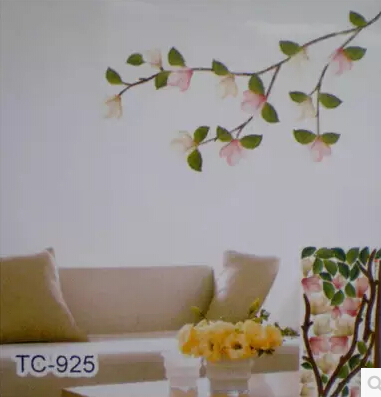 30*60cm New Design Hot Selling Kapok Flower Vinyl Removable Wall Stickers Home Decoration Waterpoof Kids Bedroom TC925