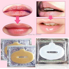New Crystal Gold Powder Gel Collagen Lip Mask Masks Sheet Patch 10PCS(China (Mainland))