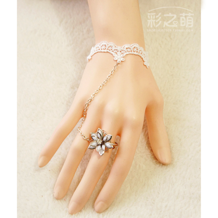 White lace lolita soft young girl bridal bracelet one piece set 28 Buy two 10% - jun-zhuang store