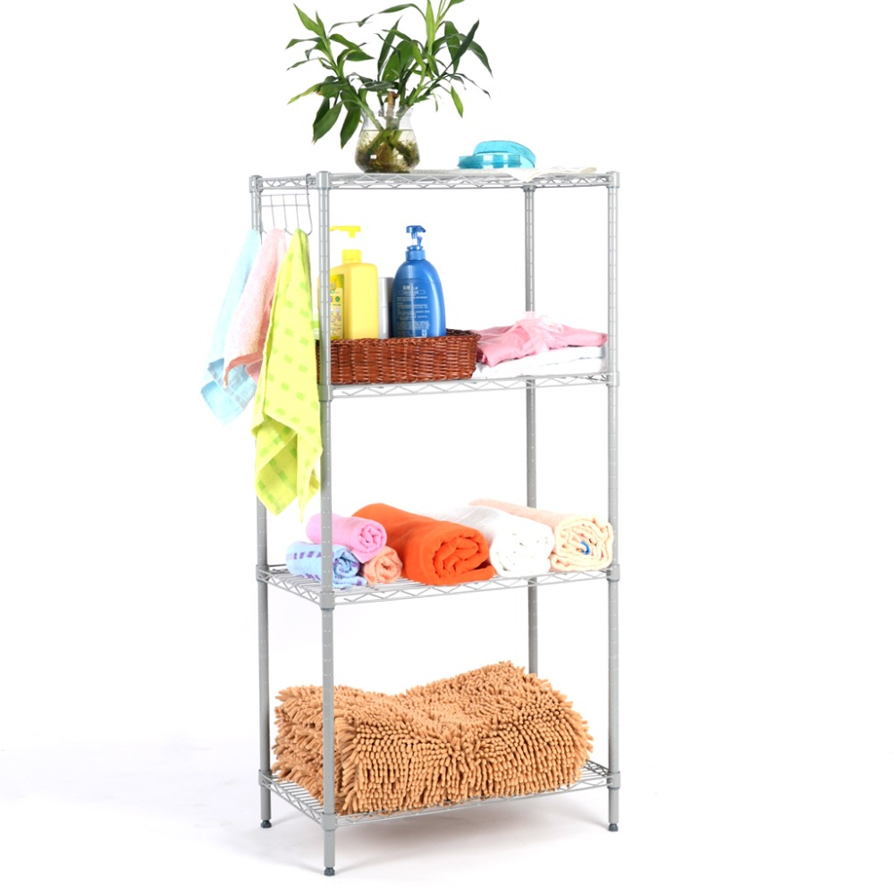 Langria 4-Tier Classic Metal Wire Storage Rack Shelving Rack Shelving Unit 275 lbs Capacity for Kitchen Toy Bedroom Bathroom(China (Mainland))