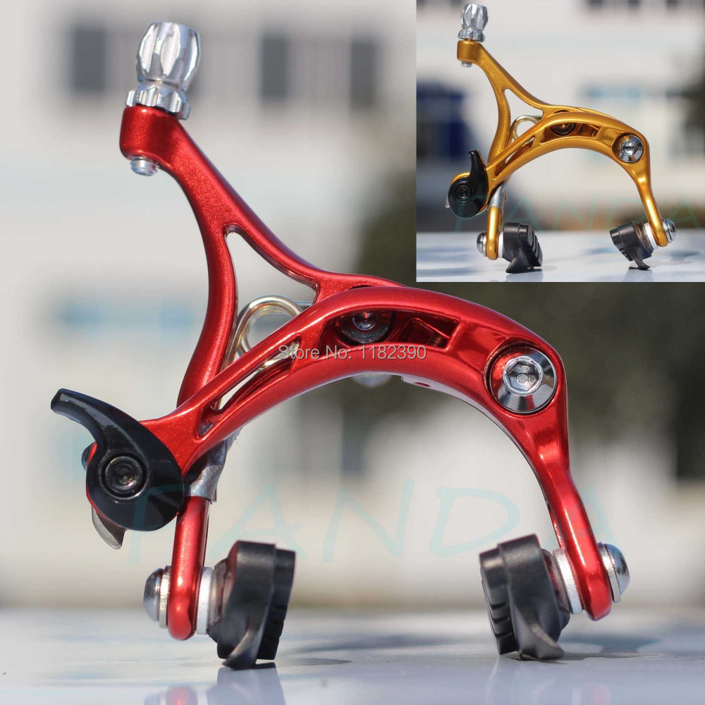 Гаджет  Ultralight!!! COLD FORGED ALUMINUM DUAL PIVOT BICYCLE BRAKE CALIPER FOR ROAD BIKE, WITH QUICK RELEASE, ANODIZED RED/GOLD None Спорт и развлечения