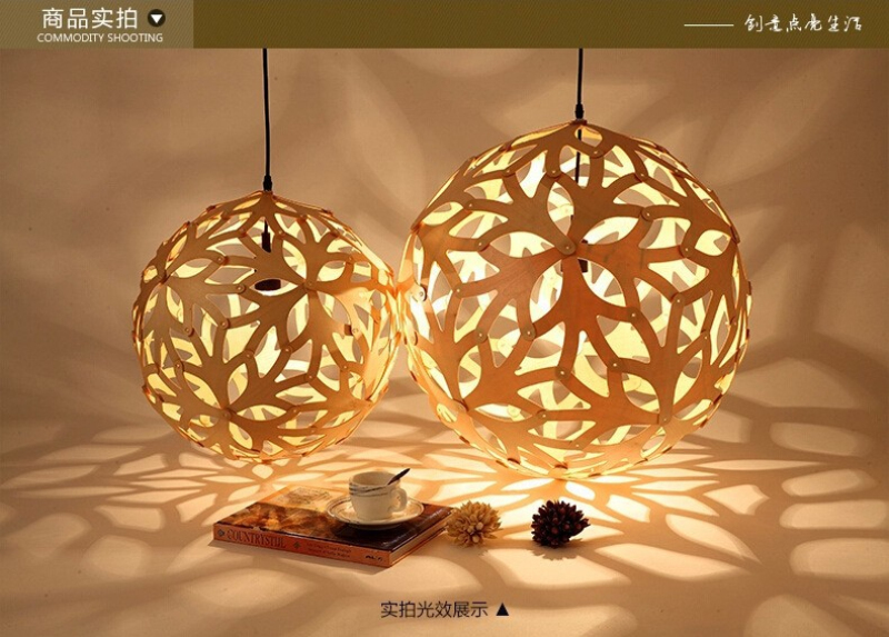 Nordic Bamboo Coral Pendant Lights Modern Creative Fixtures Dia 16 Inch Simple Wooden Ball Coral Pendant Lamp by David Trubridge(China (Mainland))