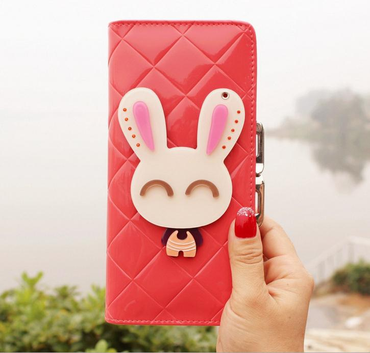 Anime Cute cartoon rabbit with mirror 100% Novelty 2015 women lady long patent leather slim designer wallet billeteras mujer 45(China (Mainland))