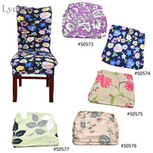 New Arrival Flower Pattern Chair Cover Printed Stretch Siamese Banquet Wedding Chair Cover Stretch Slipcovers(China (Mainland))