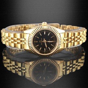 1pcs Women Luxury Golden Steel Strap Black Face Quartz Dress Watch stl hch  589TN